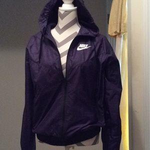 Ladies Nike purple and black stripe light jacket